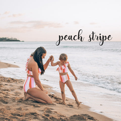 Peach stripe matching mother daughter swimsuits by SwimZip