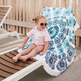 "Round Beach Towel - ""Ocean Blues""-1 Size-Ocean Blues-SwimZip UPF 50+ Sun Protective Swimwear & UV Zipper Rash Guards-pos2"
