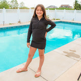 Girl's Long Sleeve Swim Dress Cover Up - Black-SwimZip UPF 50+ Sun Protective Swimwear & UV Zipper Rash Guards-pos8