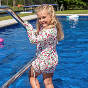 "Girl's Long Sleeve Swim Dress Cover Up - ""Floral Garden""-SwimZip UPF 50+ Sun Protective Swimwear & UV Zipper Rash Guards-pos2"