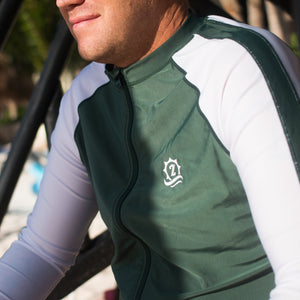 "Men's Long Sleeve Rash Guard - ""Cannonball King"" Hunter Green - SwimZip Sun Protection Swimwear"