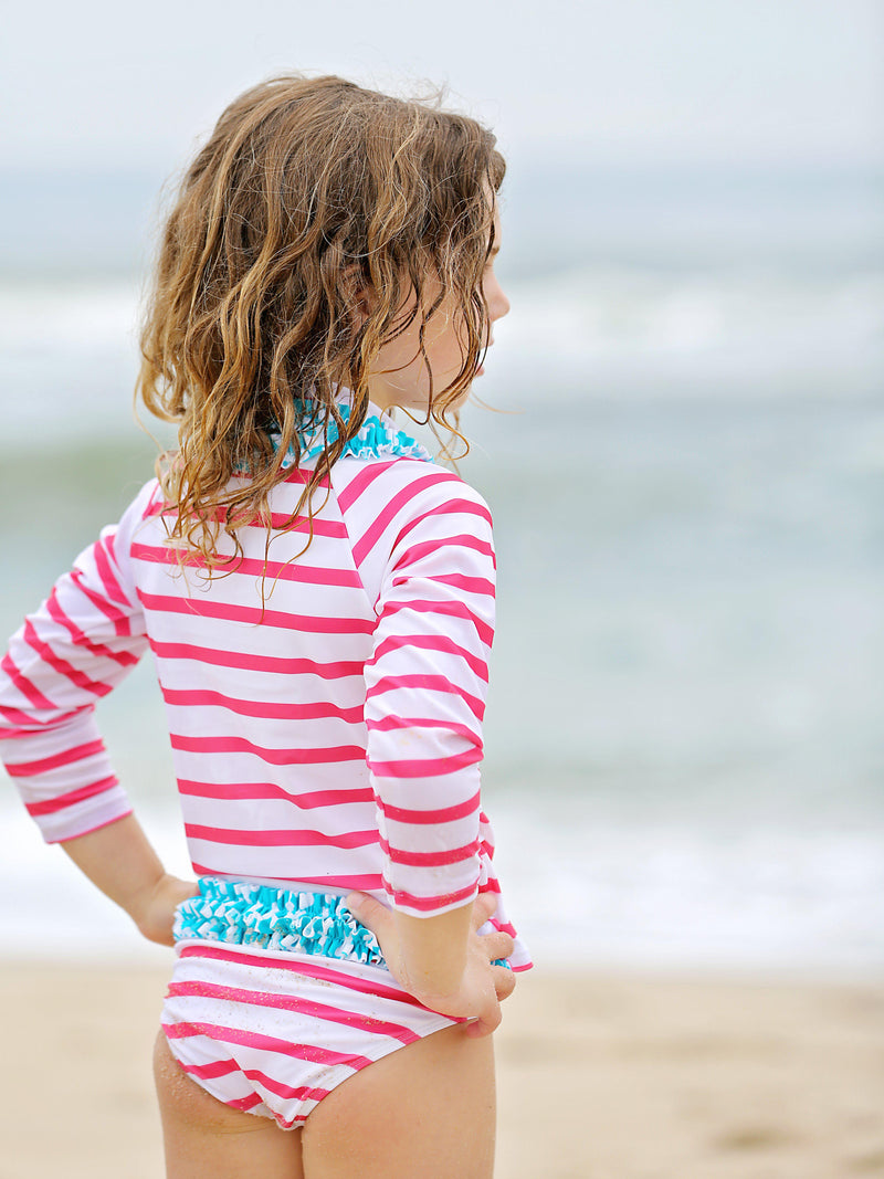 "Girl's Long Sleeve Girl Rash Guard Swimsuit Set (2 Piece) - ""Splish Splash""-SwimZip UPF 50+ Sun Protective Swimwear & UV Zipper Rash Guards-pos5"