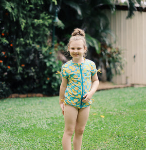 "Girl's Short Sleeve Rash Guard with Tankini + Bikini Bottoms Set (3 Piece) - ""Lemons""-SwimZip UPF 50+ Sun Protective Swimwear & UV Zipper Rash Guards-pos2"