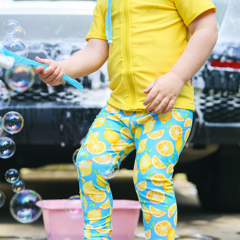 "Kid's Swim Pants - ""Lemons""-SwimZip UPF 50+ Sun Protective Swimwear & UV Zipper Rash Guards-pos14"