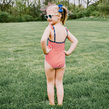 "Girl's Ruffle Strap One Piece Swimsuit - ""Stars and Stripes""-SwimZip UPF 50+ Sun Protective Swimwear & UV Zipper Rash Guards-pos15"