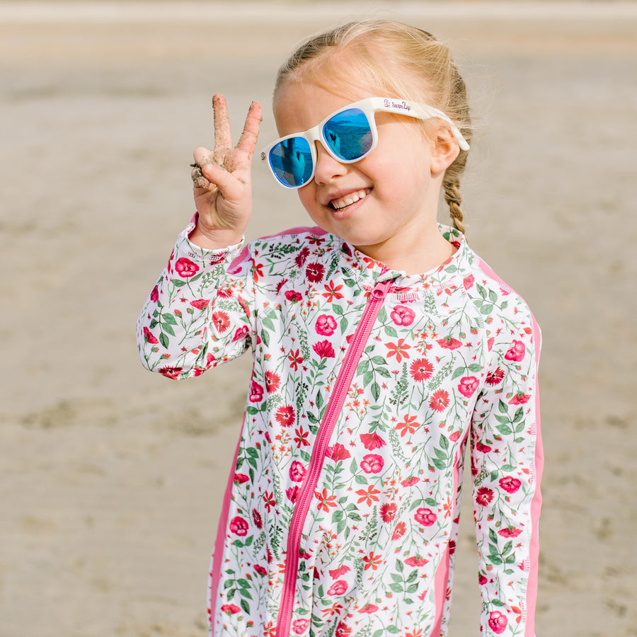 "Sunsuit - Long Sleeve Romper Swimsuit - ""Floral Garden"" - SwimZip Sun Protection Swimwear"