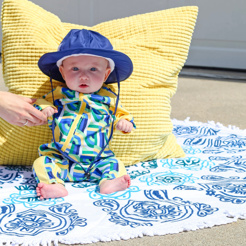 "Round Beach Towel - ""Ocean Blues""-1 Size-Ocean Blues-SwimZip UPF 50+ Sun Protective Swimwear & UV Zipper Rash Guards-pos6"