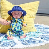 "Kid's Wide Brim Sun Hat ""Fun Sun Day Play Hat"" - Navy-SwimZip UPF 50+ Sun Protective Swimwear & UV Zipper Rash Guards-pos4"