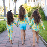 "Girl's Long Sleeve Rash Guard with Tankini + Shorts Set (3 Piece) - ""Lemons""-SwimZip UPF 50+ Sun Protective Swimwear & UV Zipper Rash Guards-pos4"