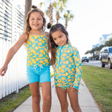 "Girl's Long Sleeve Rash Guard with Tankini + Shorts Set (3 Piece) - ""Lemons""-SwimZip UPF 50+ Sun Protective Swimwear & UV Zipper Rash Guards-pos5"