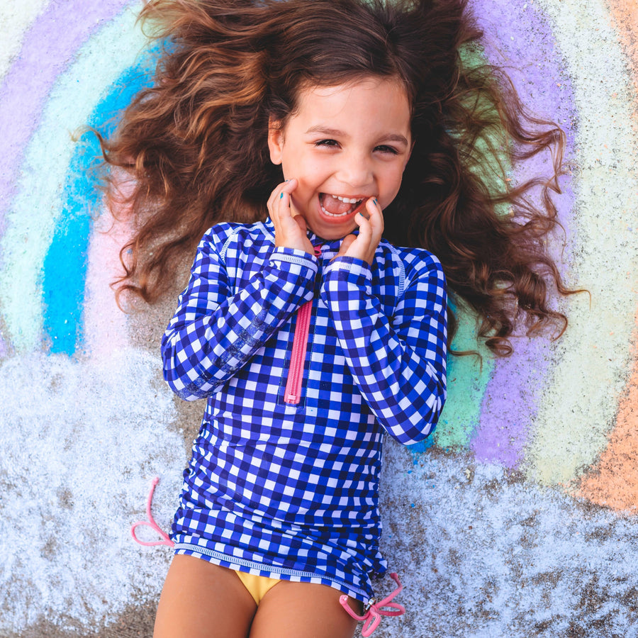 "Girl's Long Sleeve Swim Dress Cover Up - ""Navy Gingham"" - SwimZip Sun Protection Swimwear"