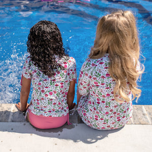 "Girl's Long Sleeve Swim Dress Cover Up - ""Floral Garden""-SwimZip UPF 50+ Sun Protective Swimwear & UV Zipper Rash Guards-pos5"