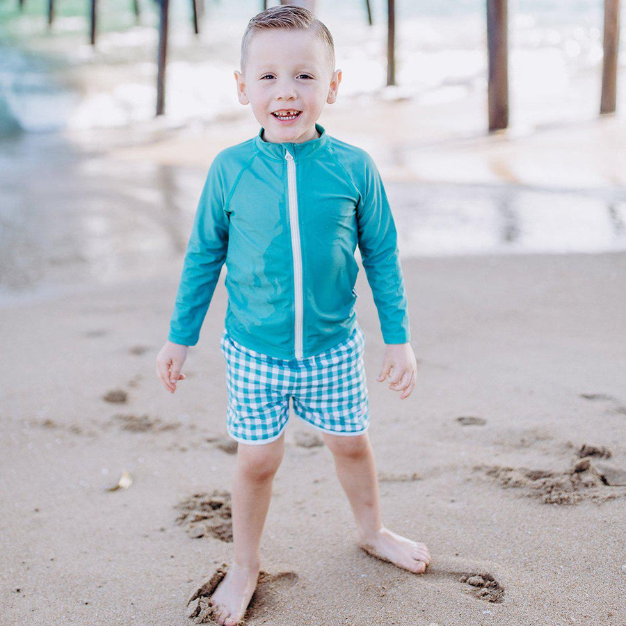 "Boy ""Catch a Wave"" Swim Trunks - Green Gingham - SwimZip Sun Protection Swimwear"