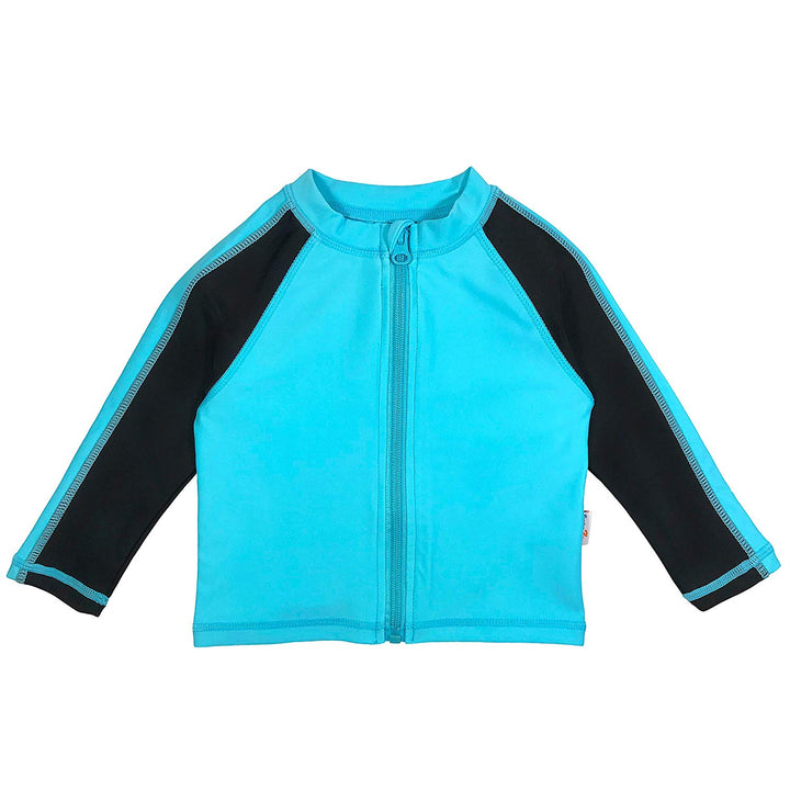 Kid's Long Sleeve Rash Guard Swim Shirt (Two-Tone) - Aqua/Black - SwimZip Sun Protection Swimwear