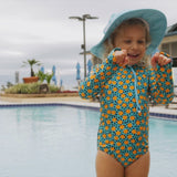 "Girl's Long Sleeve Surf Suit (1 Piece) | ""Geo Party"""