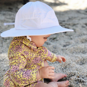 "Kid's Wide Brim Sun Hat ""Fun Sun Day Play Hat"" - White - SwimZip Sun Protection Swimwear"