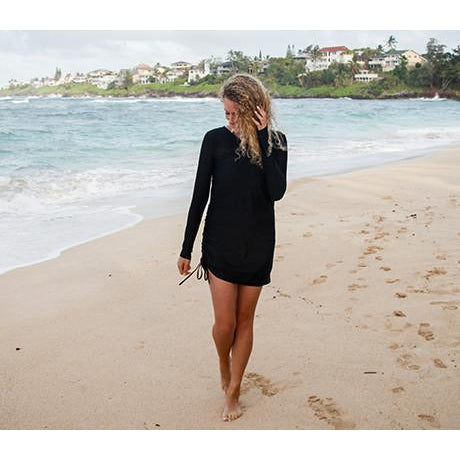 "Women's Sophisticated Swim Dress Cover Up - ""All Black""-SwimZip UPF 50+ Sun Protective Swimwear & UV Zipper Rash Guards-pos2"