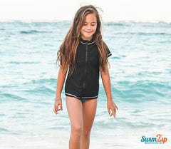 girl black zipper swim shirt