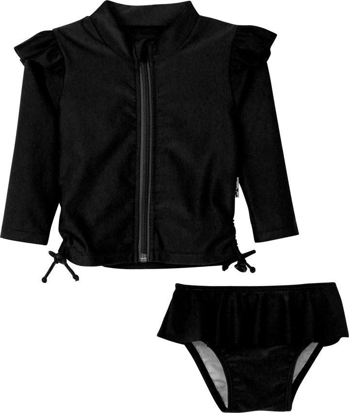 Flutter Love - BLACK - Long Sleeve Rash Guard Swimsuit Set (2 Piece) - SwimZip Sun Protection Swimwear
