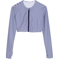 women's crop top zip navy stripe swimzip