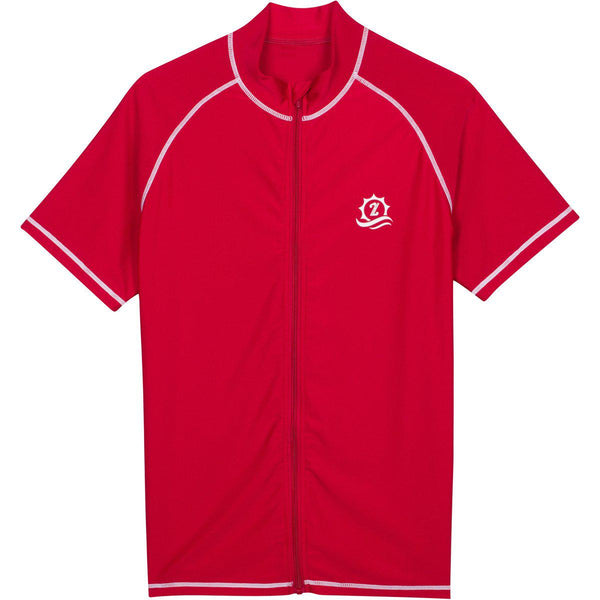 "Mens Rash Guard Short Sleeve Swim Shirt - ""Board Master"" Red"