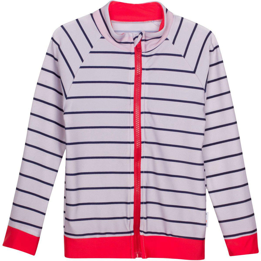 boy zip rash guard swim shirt stripe