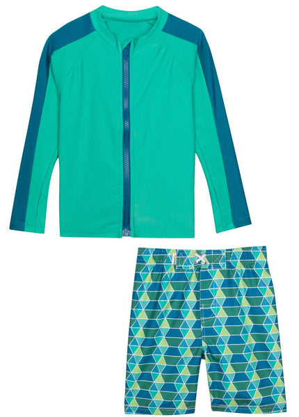 "Little Boy Long Sleeve Rash Guard Swimsuit Set (2 Piece) with SPF 50+ - ""Splash Zone"""