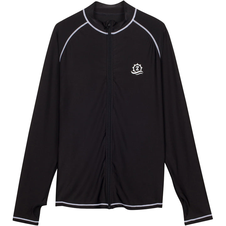 "Men's Long Sleeve Rash Guard - ""Cannonball King"" Black with Contrast Stitching - SwimZip Sun Protection Swimwear"