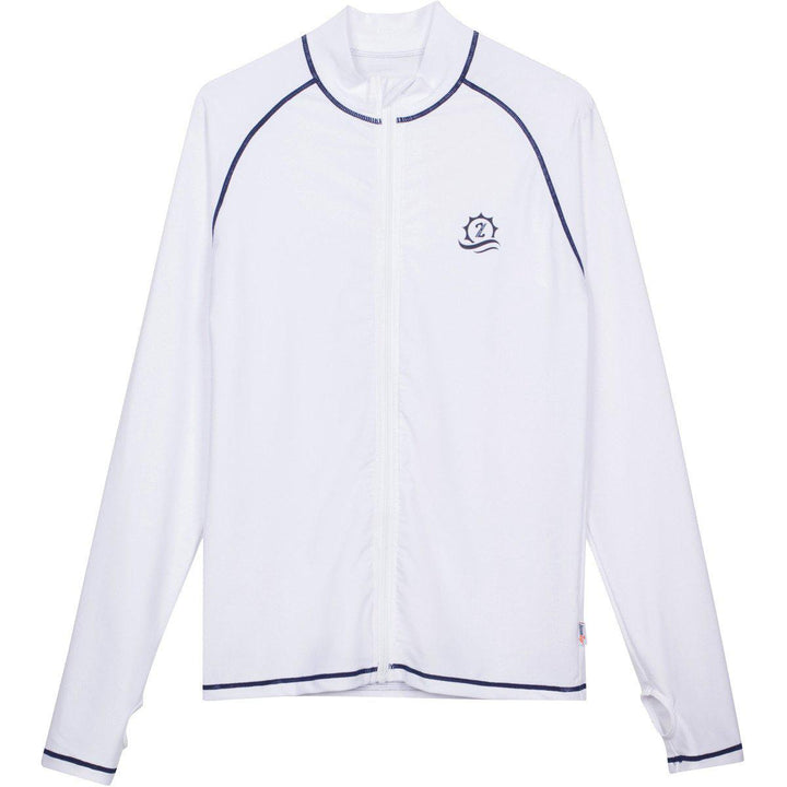 "Men's Long Sleeve Rash Guard - ""Cannonball King"" White with Contrast Stitching - SwimZip Sun Protection Swimwear"