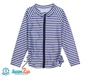 Girl Long Sleeve Zip Rash Guard Swim Shirt Top Navy Stripe