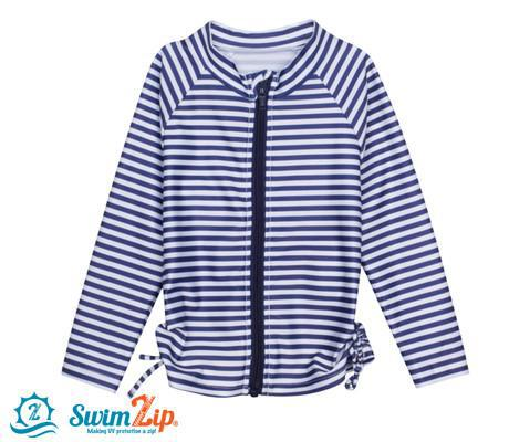 Girl Long Sleeve Zip Rash Guard Swim Shirt Top - Navy Stunner Stripe - SwimZip Sun Protection Swimwear