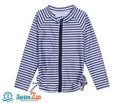 Girl Long Sleeve Zipper Rash Guard