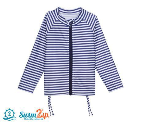 Girl Long Sleeve Zip Rash Guard Swim Shirt Top - Navy Stunner Stripe-SwimZip UPF 50+ Sun Protective Swimwear & UV Zipper Rash Guards-pos2