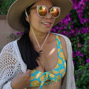 "Women's Front Tie Bikini Top - ""Lemons"" - SwimZip Sun Protection Swimwear"