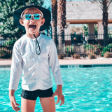 Kid's Euro Swim Shorties - Black-SwimZip UPF 50+ Sun Protective Swimwear & UV Zipper Rash Guards-pos6