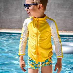 "Kid's Euro Swim Shorties - ""Lemons"" - SwimZip Sun Protection Swimwear"