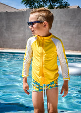 Kid's Long Sleeve Rash Guard Swim Shirt (Two-Tone) - Multiple Colors-SwimZip UPF 50+ Sun Protective Swimwear & UV Zipper Rash Guards-pos7