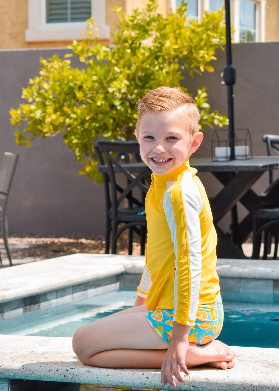 Kid's Long Sleeve Rash Guard Swim Shirt (Two-Tone) - Multiple Colors - SwimZip Sun Protection Swimwear