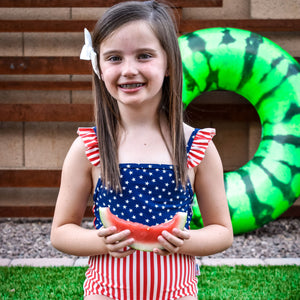 "Girl's Ruffle Strap One Piece Swimsuit - ""Stars and Stripes"" - SwimZip Sun Protection Swimwear"