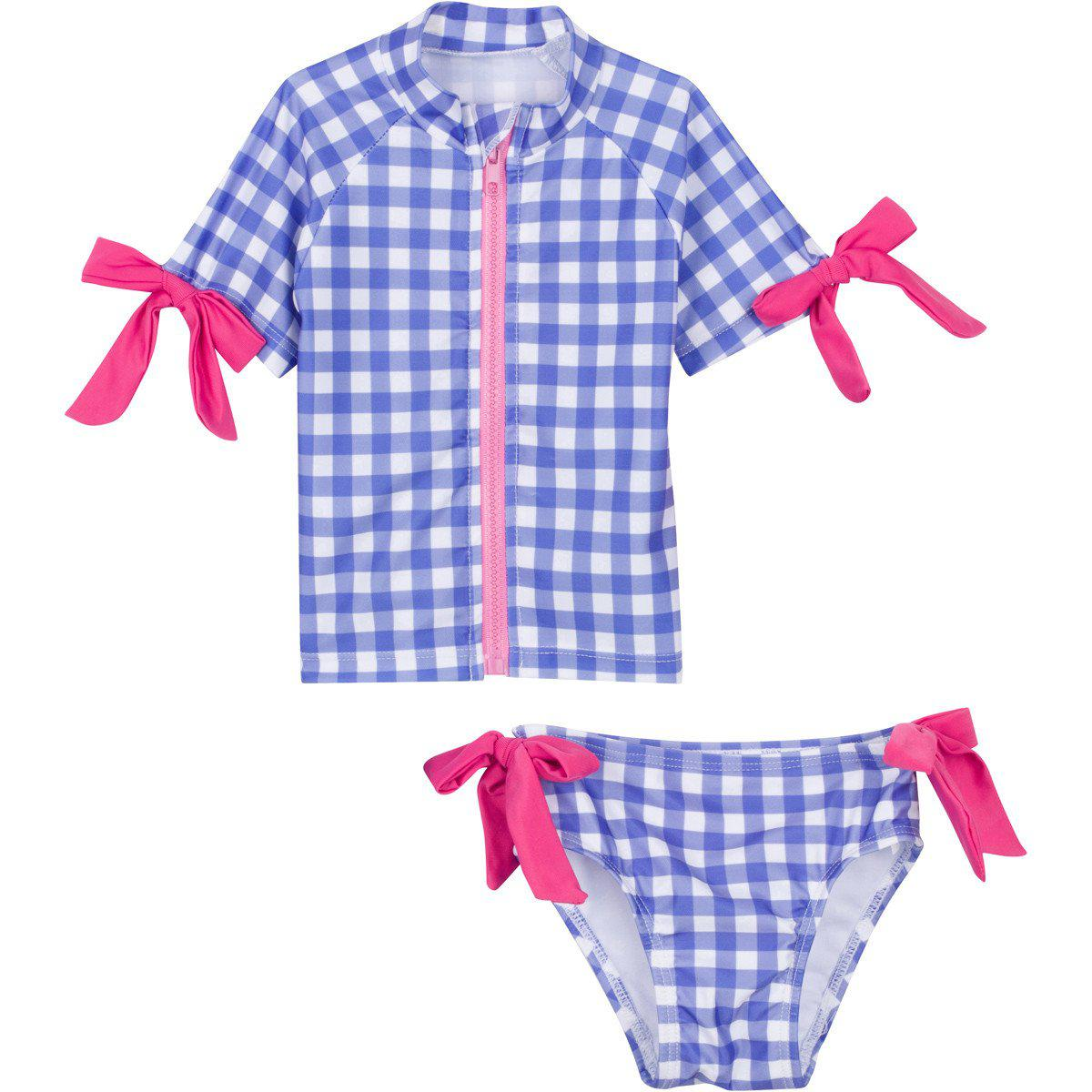 blue gingham pink bow girl zipper rashguard set swimzip