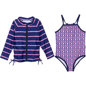 "Baby Girl One-Piece Swimsuit and Long Sleeve Rash Guard Set (2 Piece) - ""Diamonds Are Forever"" - SwimZip Sun Protection Swimwear"