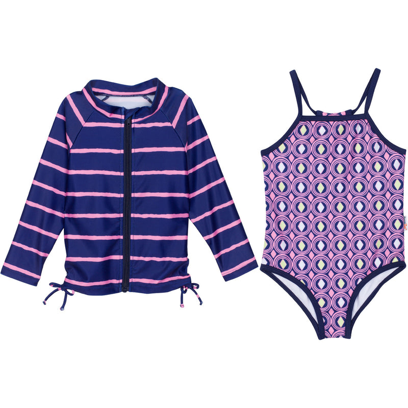 "Baby Girl One-Piece Swimsuit and Long Sleeve Rash Guard Set (2 Piece) - ""Diamonds Are Forever""-0-3 Month-Purple-SwimZip UPF 50+ Sun Protective Swimwear & UV Zipper Rash Guards-pos1"