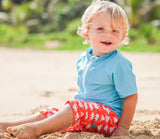 "Baby Boy Short Sleeve Rash Guard Swimsuit Set - ""Dino-Mite""-SwimZip UPF 50+ Sun Protective Swimwear & UV Zipper Rash Guards-pos2"