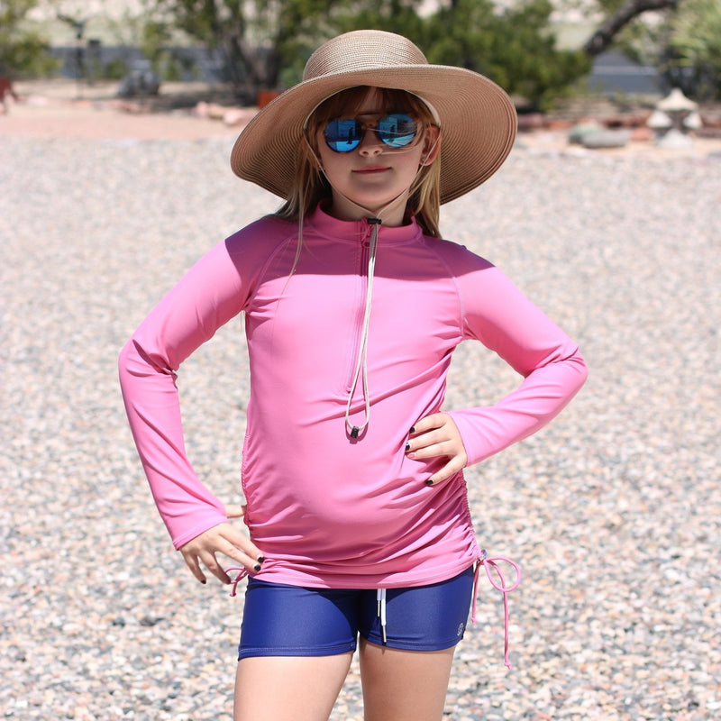 Girl's Long Sleeve Swim Dress Cover Up - Rose-SwimZip UPF 50+ Sun Protective Swimwear & UV Zipper Rash Guards-pos11