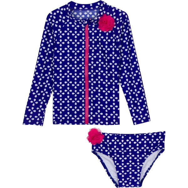 "Little Girl Long Sleeve Girl Rash Guard Swimsuit Set (2 Piece) - ""Flower Power"""