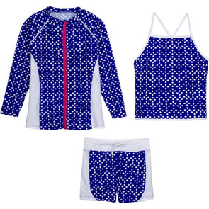 little girls' rash guard swimsuit set with shorts swim zip blue flower zipper