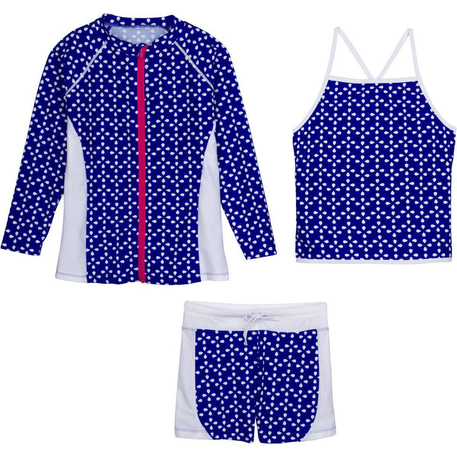 "Little Girl Long Sleeve Rash Guard Shorts Set - 3 Piece Set ""Flower Power""-12-18 Month-Blue-SwimZip UPF 50+ Sun Protective Swimwear & UV Zipper Rash Guards-pos1"