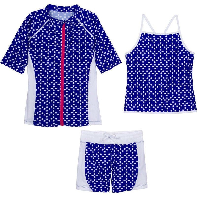 "Girls' Short Sleeve Rash Guard Tankini Shorts Set (3 Piece) - ""Flower Power""-12-18 Month-Blue-SwimZip UPF 50+ Sun Protective Swimwear & UV Zipper Rash Guards-pos1"