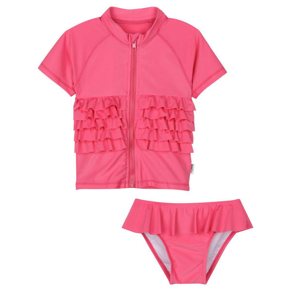 "Little Girl Zipper Rash Guard Swimsuit Set by SwimZip - ""Ruffle Me Pretty"" Pink"