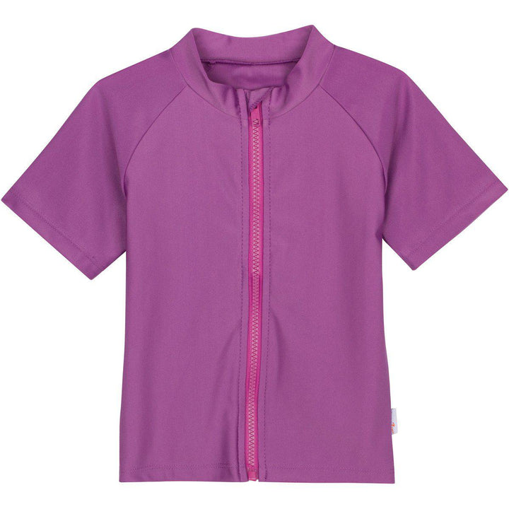 girl zipper rash guard shirt purple short sleeve